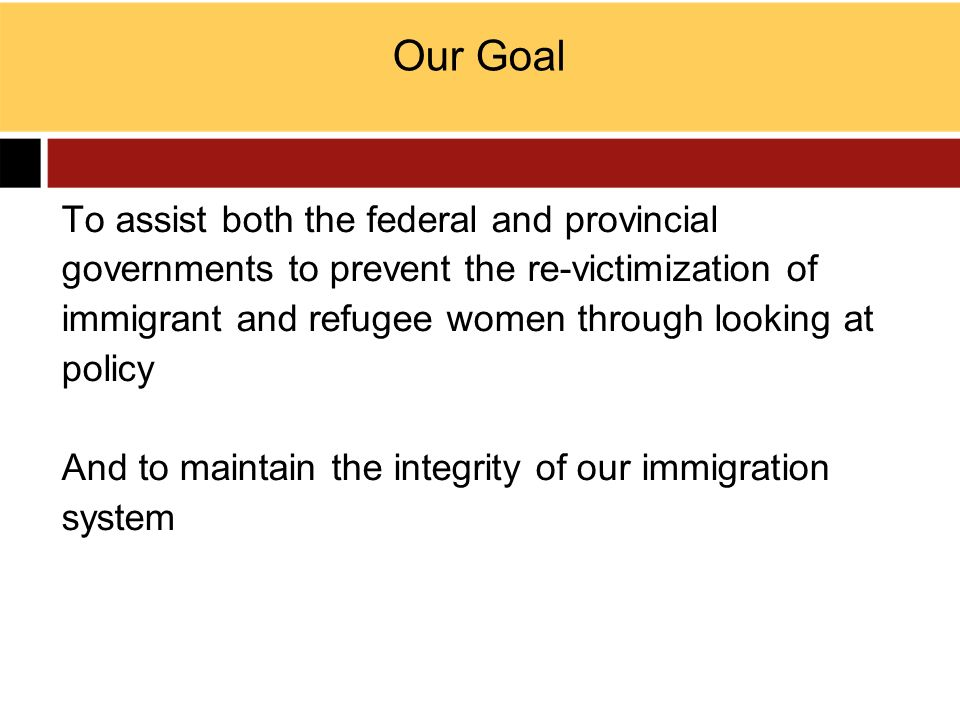 Our Goal To assist both the federal and provincial governments to prevent the re-victimization of immigrant and refugee women through looking at polic