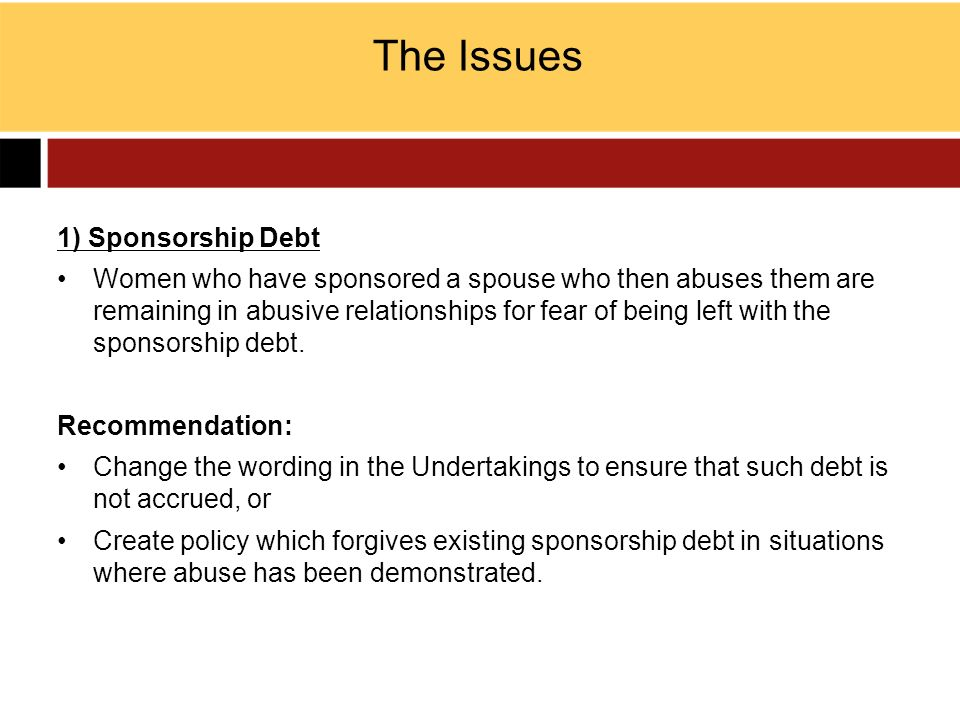 The Issues 1) Sponsorship Debt Women who have sponsored a spouse who then abuses them are remaining in abusive relationships for fear of being left wi