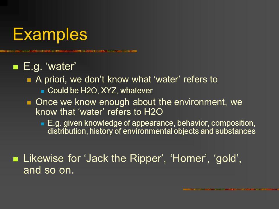 Examples E.g.