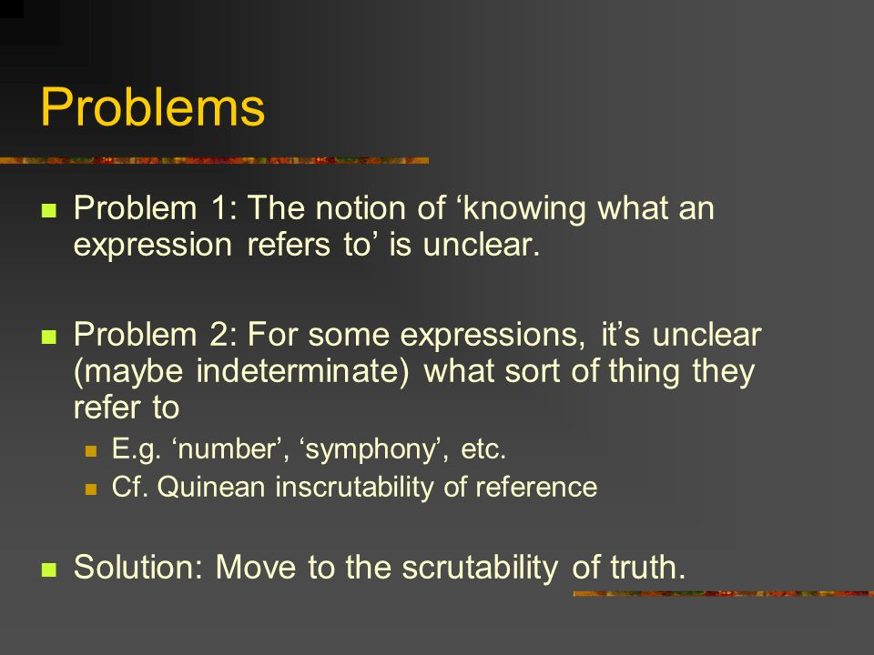 Conceptual Scrutability Conceptual formulation of scrutability Theres some limited set of concepts V such that For all true thoughts T, T is implied by some true V-thought For all epistemically possible thoughts T, T is implied by some V-thought A thought = a world-directed propositional attitude token (e.g.