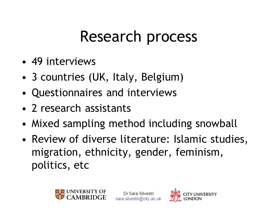 Dr Sara Silvestri Research process 49 interviews 3 countries (UK, Italy, Belgium) Questionnaires and interviews 2 research assistants Mixed sampling method including snowball Review of diverse literature: Islamic studies, migration, ethnicity, gender, feminism, politics, etc