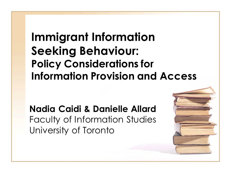 IPEC Aim : To study how immigrant communities in the Greater Toronto Area find and use information they need in their everyday lives 2 Objectives : –to explore the impacts of culture on information practices: how does ones culture affect information seeking behavior and use.
