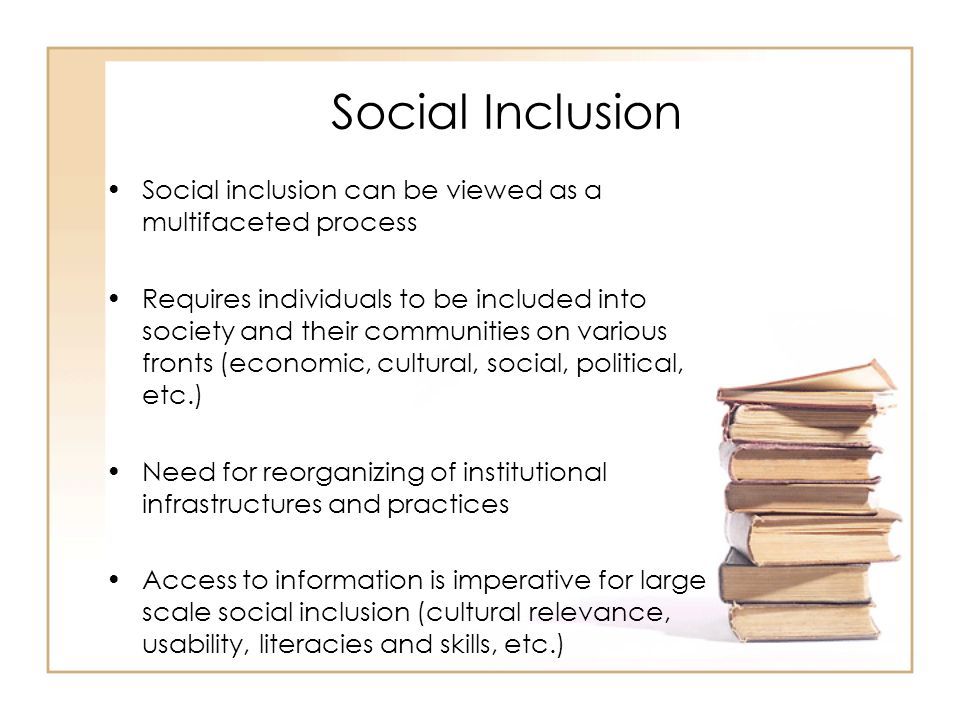 Social Inclusion Social inclusion can be viewed as a multifaceted process Requires individuals to be included into society and their communities on various fronts (economic, cultural, social, political, etc.) Need for reorganizing of institutional infrastructures and practices Access to information is imperative for large scale social inclusion (cultural relevance, usability, literacies and skills, etc.)