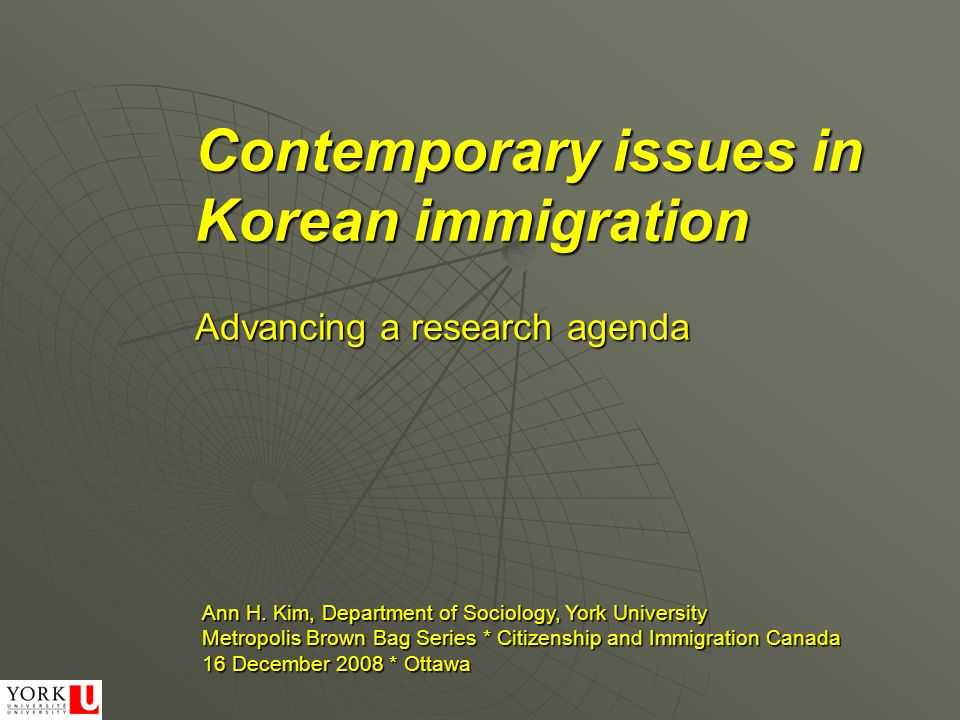 Contemporary issues in Korean immigration Ann H.