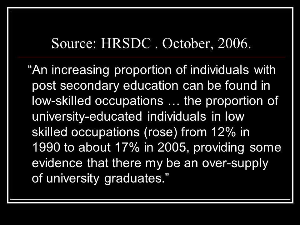 Source: HRSDC. October, 2006.