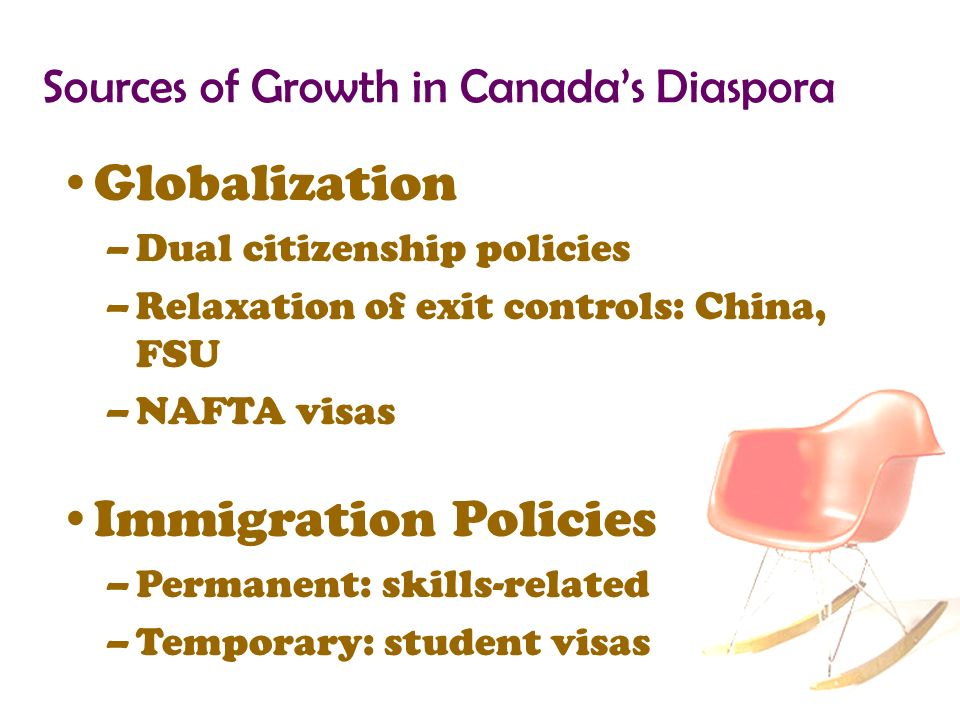 Sources of Growth in Canadas Diaspora Globalization –Dual citizenship policies –Relaxation of exit controls: China, FSU –NAFTA visas Immigration Policies –Permanent: skills-related –Temporary: student visas