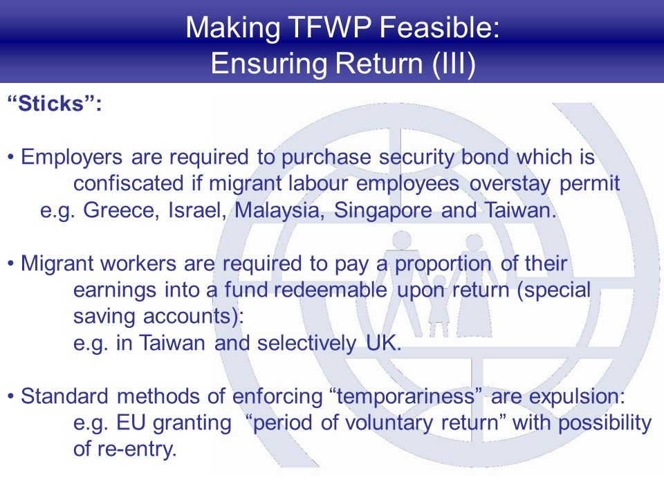Making TFWP Feasible: Ensuring Return (III) Sticks: Employers are required to purchase security bond which is confiscated if migrant labour employees