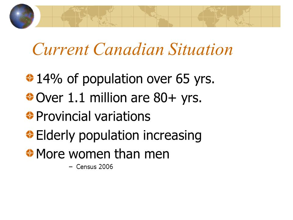 Current Canadian Situation 14% of population over 65 yrs.