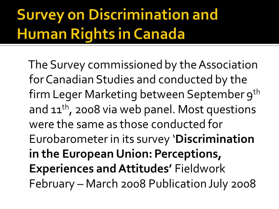 In the past 12 months I have personally experienced discrimination The government of Canada does a good job of protecting human rights Strongly agreeSomewhat agree Somewhat disagree Strongly disagree Strongly agree 6,5%8,3%6,6%15,3% Somewhat agree 37,3%47,5%59,0%55,6% Somewhat disagree 31,4%32,0%24,6%16,1% Strongly disagree 18,3%9,0%6,0%5,9% I don t know 5,9%2,9%3,5%5,7% I prefer not to answer,7%,4%,3%1,4% Total 100,0%