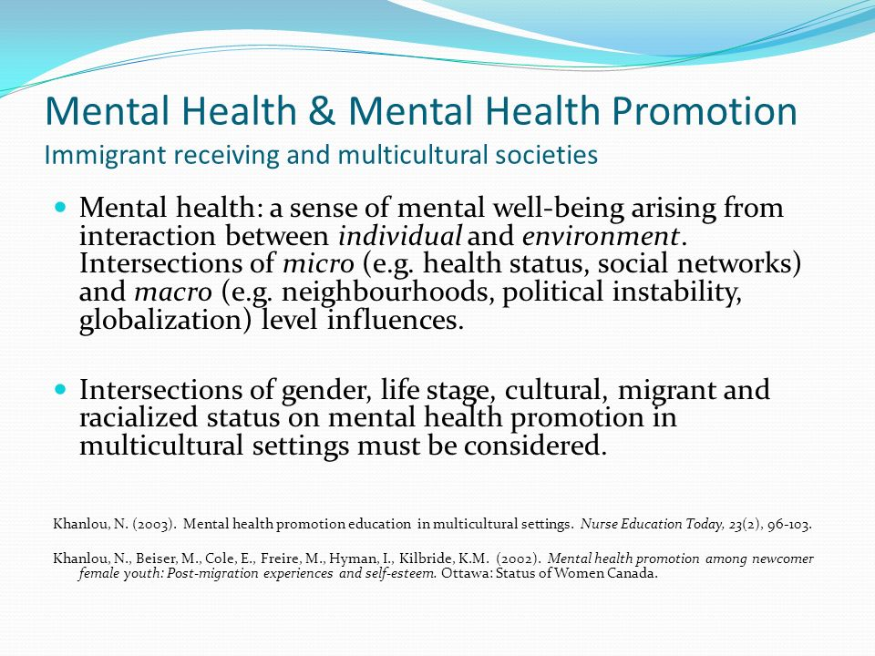 Mental Health & Mental Health Promotion Immigrant receiving and multicultural societies Mental health: a sense of mental well-being arising from interaction between individual and environment.
