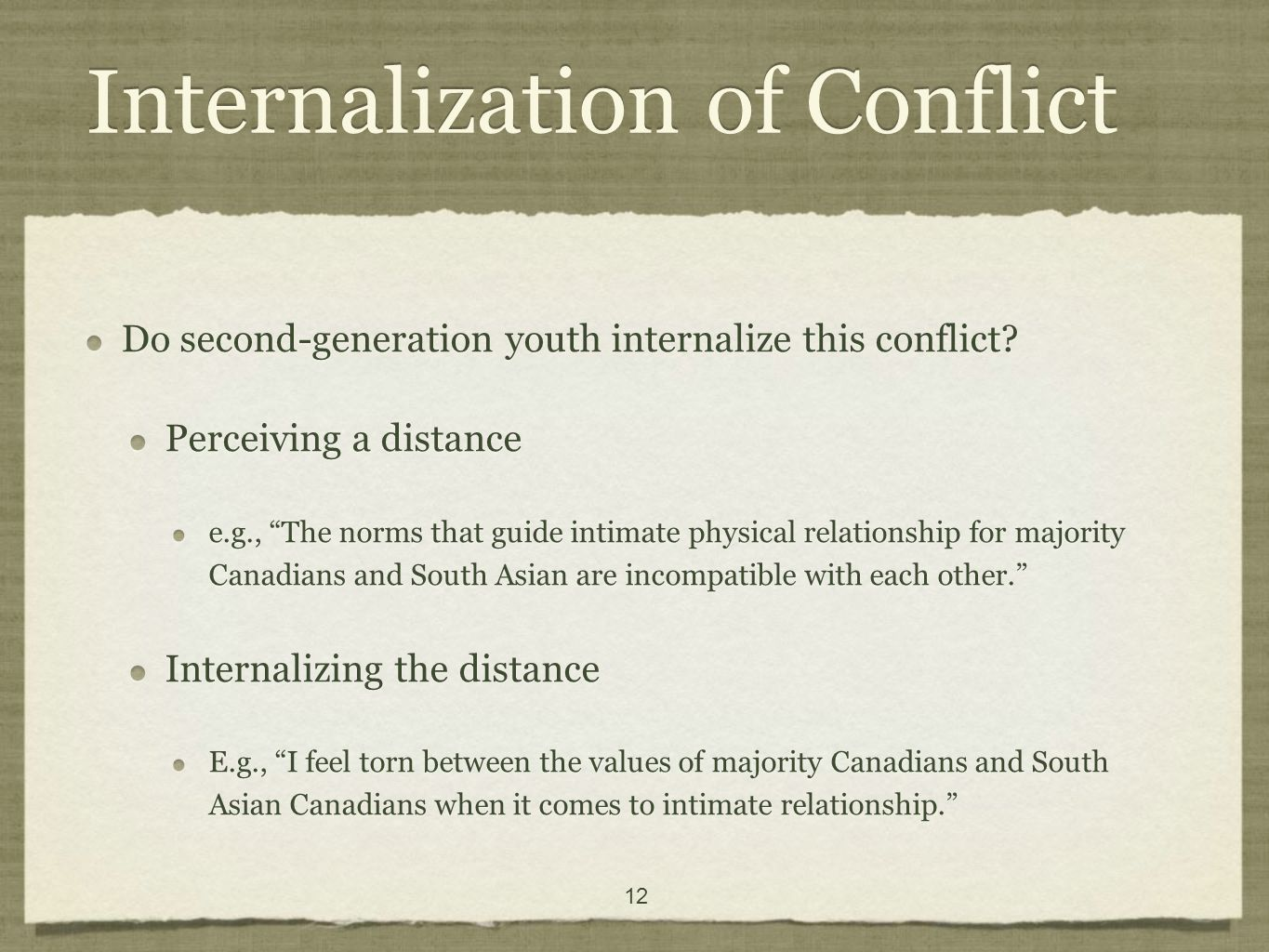 12 Internalization of Conflict Do second-generation youth internalize this conflict.
