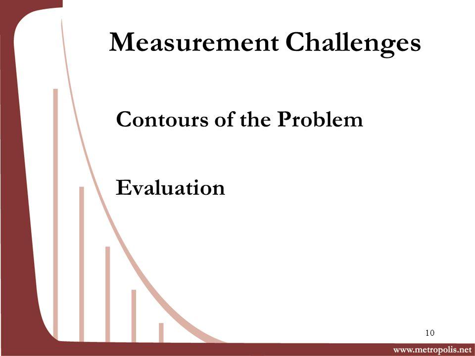 Measurement Challenges Contours of the Problem Evaluation 10
