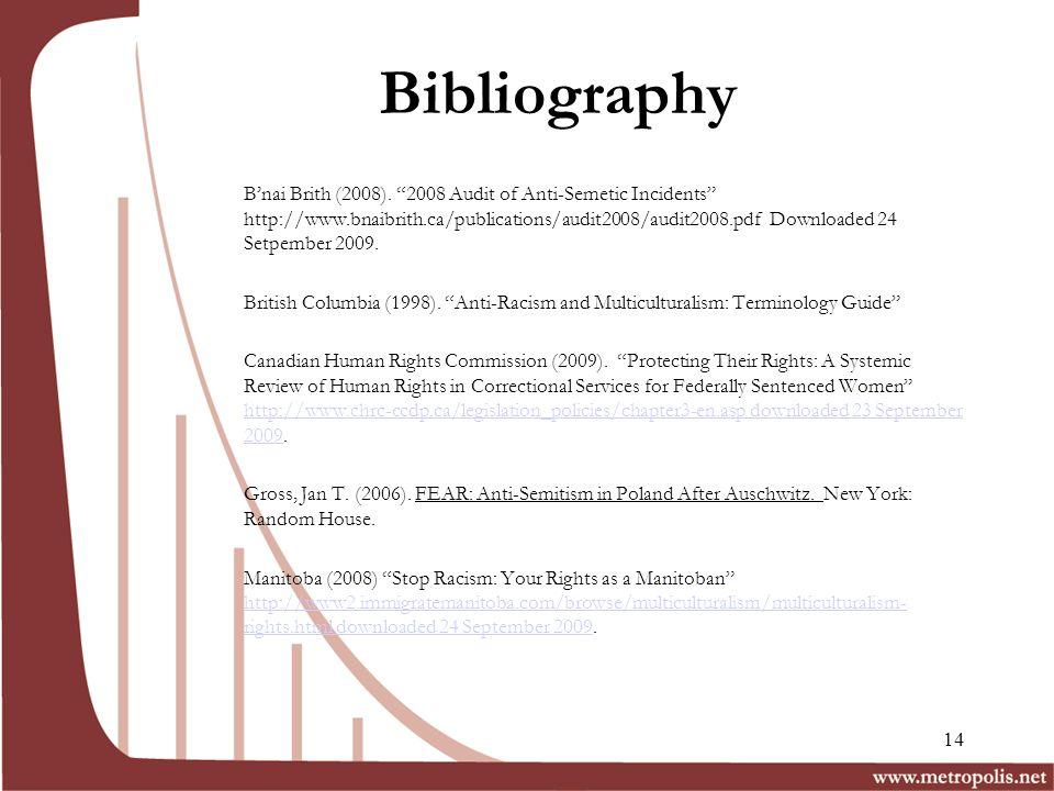 Bibliography Bnai Brith (2008).