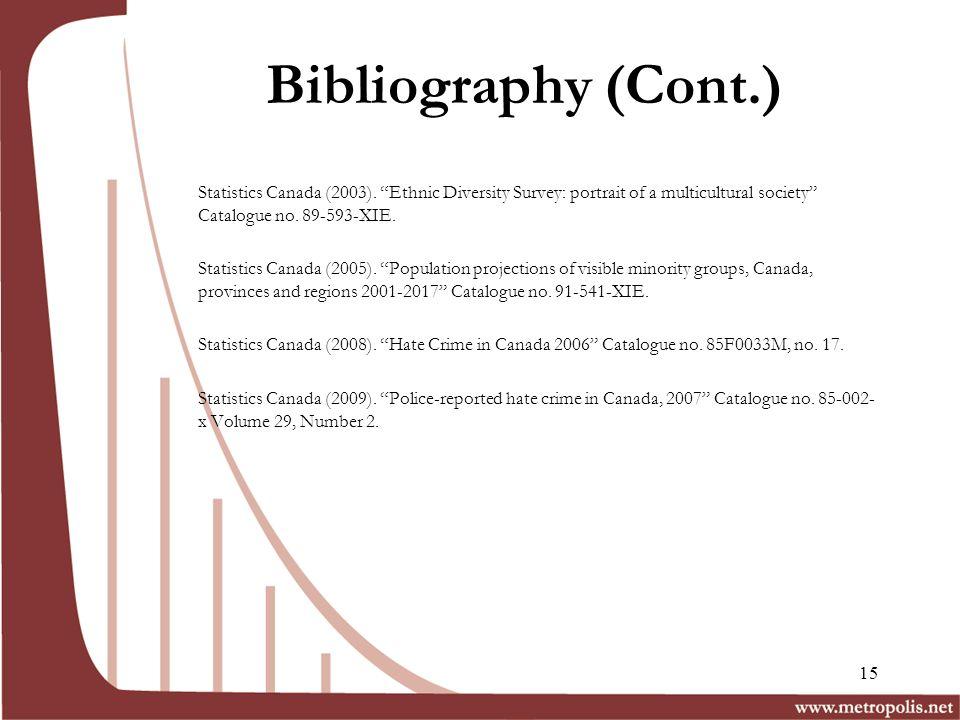 Bibliography (Cont.) Statistics Canada (2003).