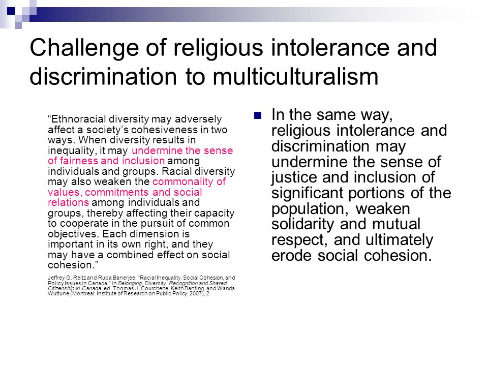 Challenge of religious intolerance and discrimination to multiculturalism Ethnoracial diversity may adversely affect a societys cohesiveness in two ways.