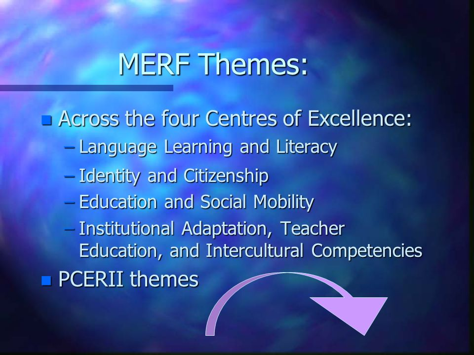 MERF Themes: n Across the four Centres of Excellence: –Language Learning and Literacy –Identity and Citizenship –Education and Social Mobility –Instit
