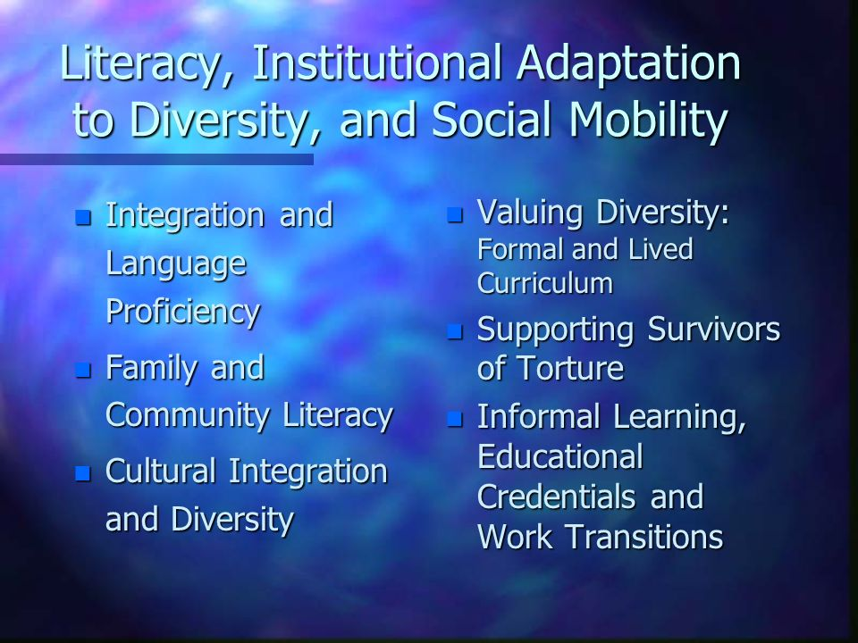 Literacy, Institutional Adaptation to Diversity, and Social Mobility n Integration and Language Proficiency n Family and Community Literacy n Cultural