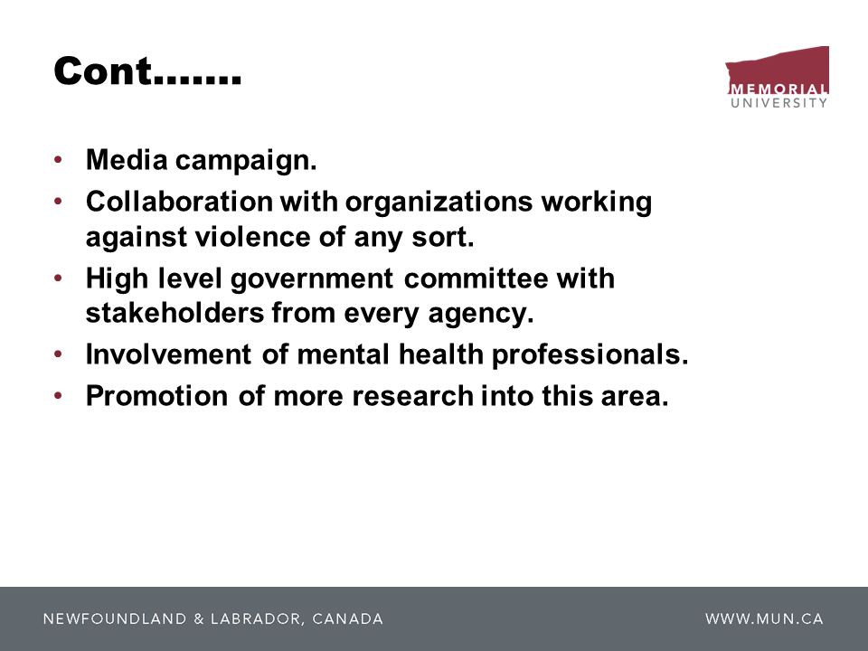 Cont……. Media campaign. Collaboration with organizations working against violence of any sort.