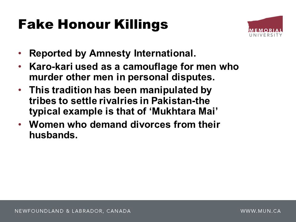 Fake Honour Killings Reported by Amnesty International.