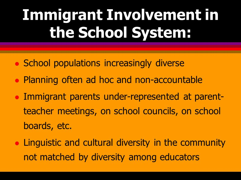 Immigrant Involvement in the School System: l School populations increasingly diverse l Planning often ad hoc and non-accountable l Immigrant parents under-represented at parent- teacher meetings, on school councils, on school boards, etc.
