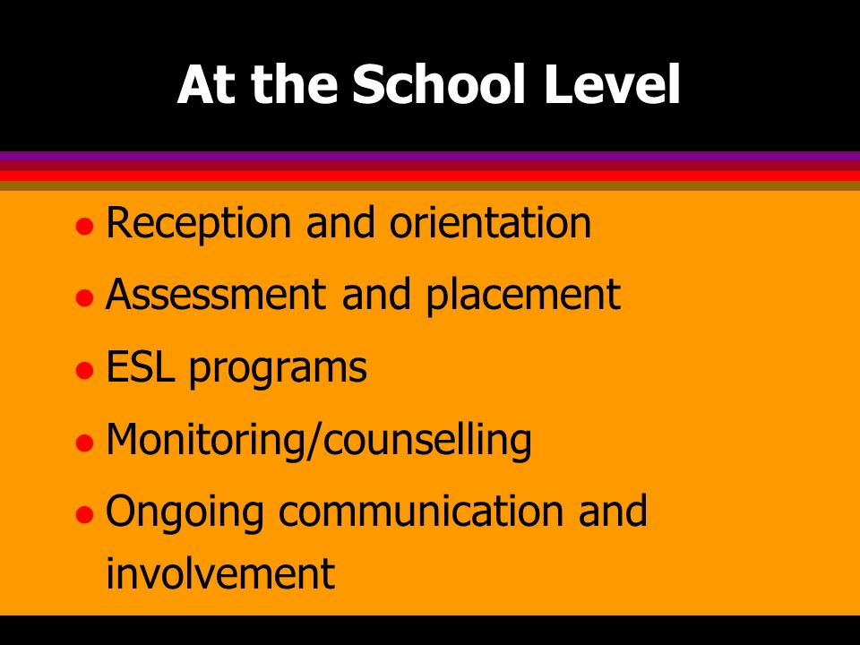 At the School Level l Reception and orientation l Assessment and placement l ESL programs l Monitoring/counselling l Ongoing communication and involvement