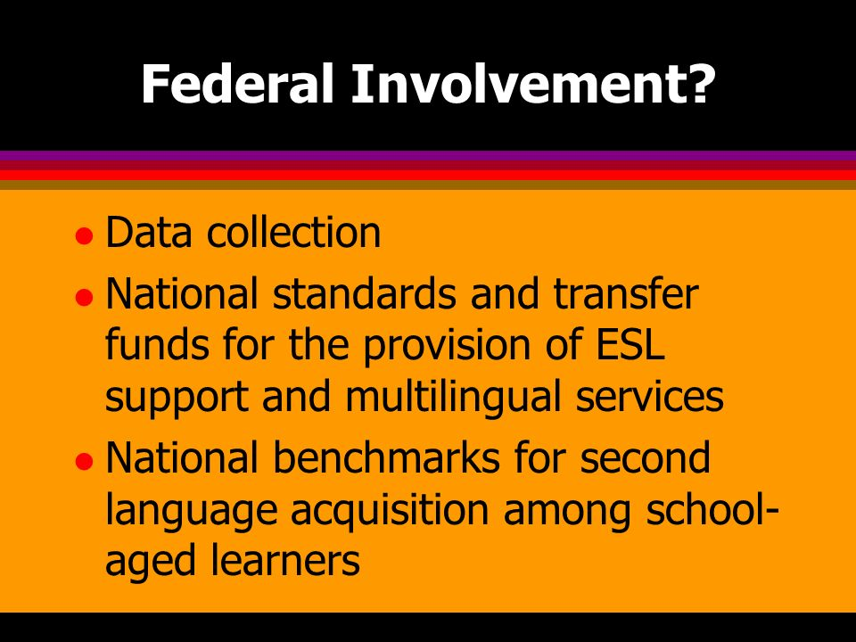 Federal Involvement? l Data collection l National standards and transfer funds for the provision of ESL support and multilingual services l National b