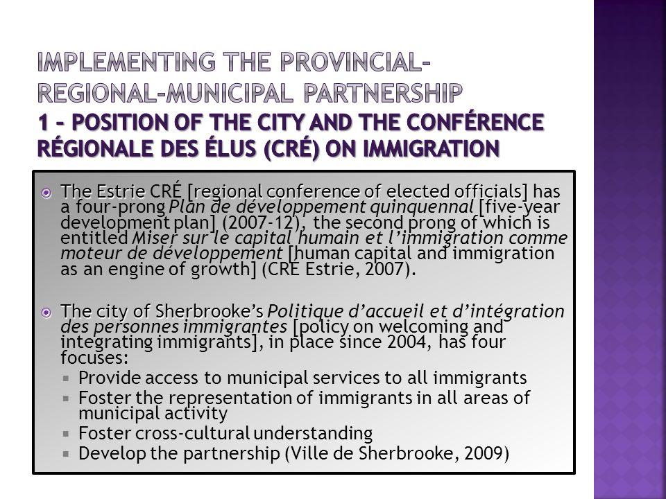The Estrieregional conference of elected officials] The Estrie CRÉ [regional conference of elected officials] has a four-prong Plan de développement q