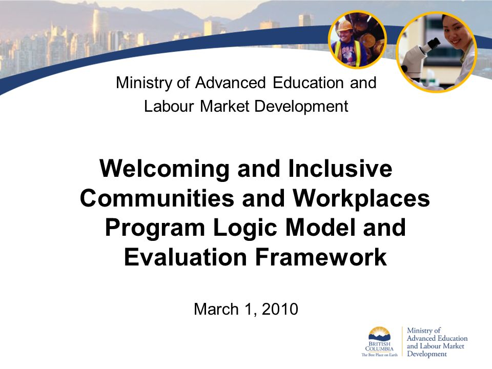Ministry of Advanced Education and Labour Market Development Welcoming and Inclusive Communities and Workplaces Program Logic Model and Evaluation Fra