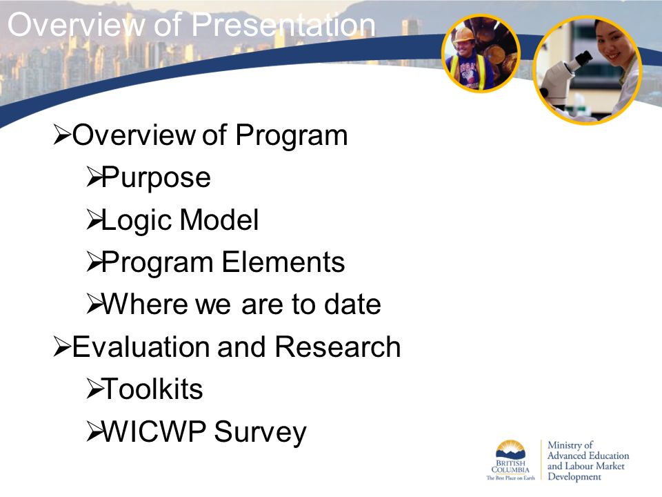 Overview of Presentation Overview of Program Purpose Logic Model Program Elements Where we are to date Evaluation and Research Toolkits WICWP Survey