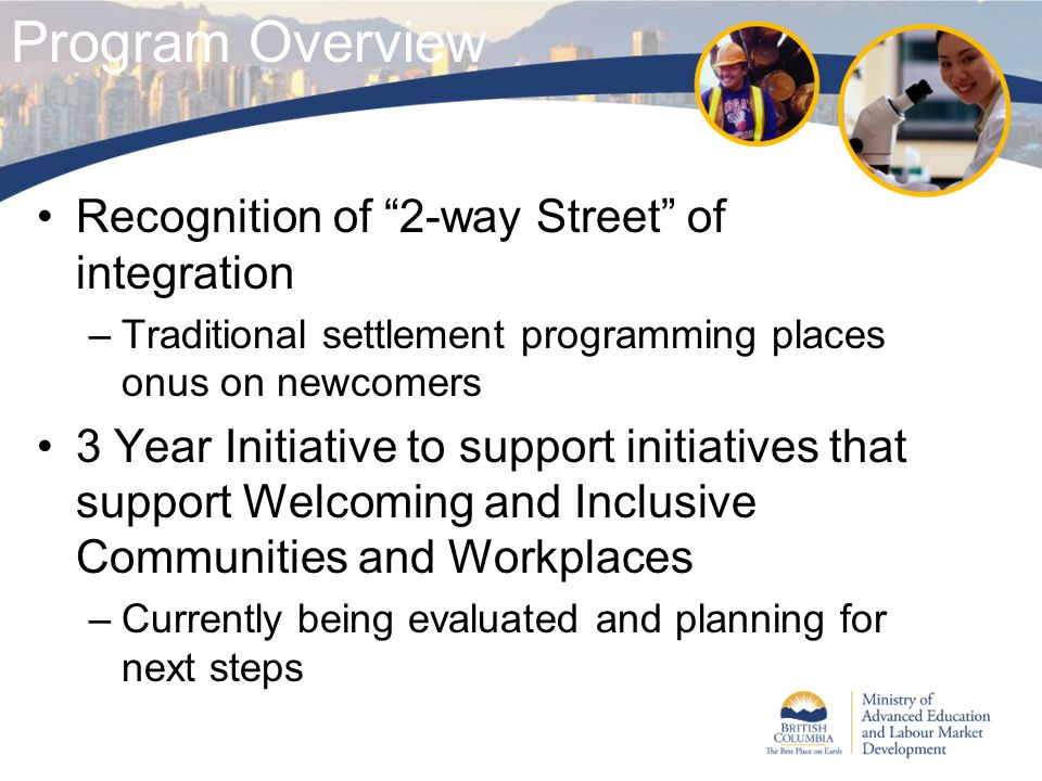 Recognition of 2-way Street of integration –Traditional settlement programming places onus on newcomers 3 Year Initiative to support initiatives that