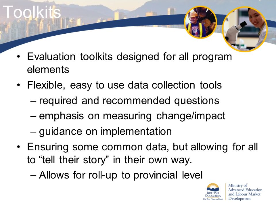 Toolkits Evaluation toolkits designed for all program elements Flexible, easy to use data collection tools –required and recommended questions –emphas