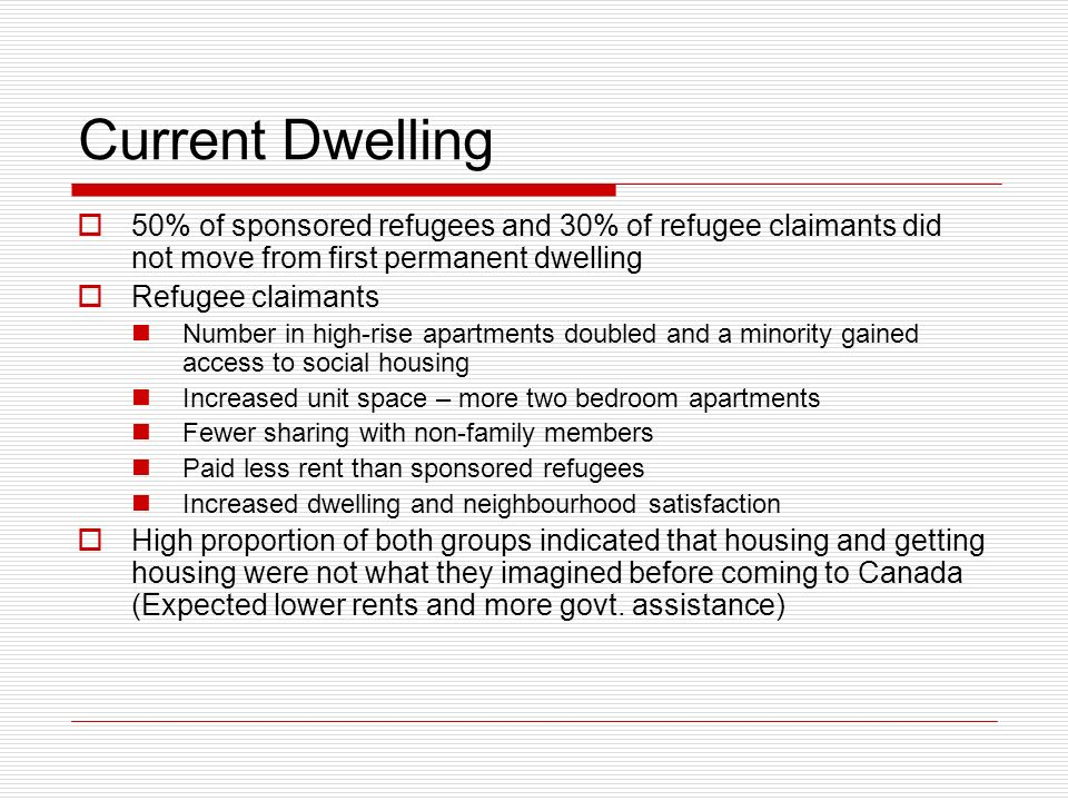 Current Dwelling 50% of sponsored refugees and 30% of refugee claimants did not move from first permanent dwelling Refugee claimants Number in high-rise apartments doubled and a minority gained access to social housing Increased unit space – more two bedroom apartments Fewer sharing with non-family members Paid less rent than sponsored refugees Increased dwelling and neighbourhood satisfaction High proportion of both groups indicated that housing and getting housing were not what they imagined before coming to Canada (Expected lower rents and more govt.
