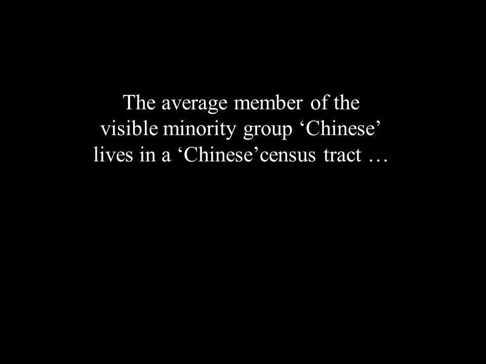 The average member of the visible minority group Chinese lives in a Chinesecensus tract … but only about half of the total Chinese population for these three cities lived in such census tracts (Hou 2004)