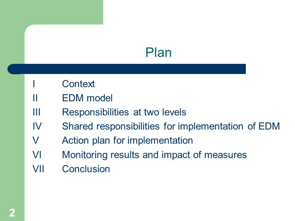 2 Plan IContext II EDM model III Responsibilities at two levels IVShared responsibilities for implementation of EDM V Action plan for implementation VIMonitoring results and impact of measures VIIConclusion