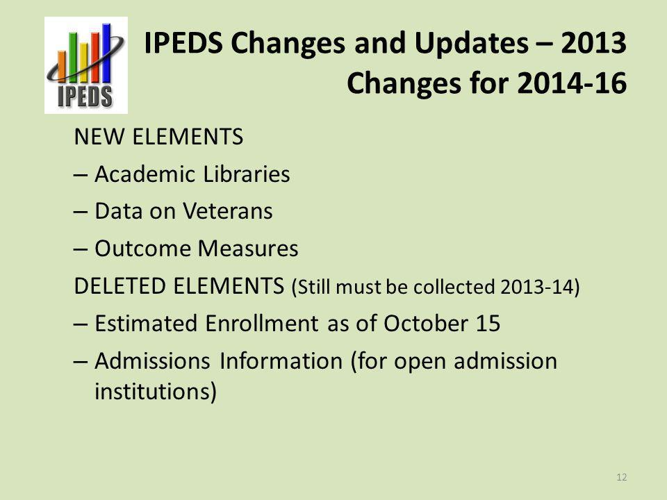 IPEDS Changes and Updates – 2013 Changes for 2014-16 NEW ELEMENTS – Academic Libraries – Data on Veterans – Outcome Measures DELETED ELEMENTS (Still m