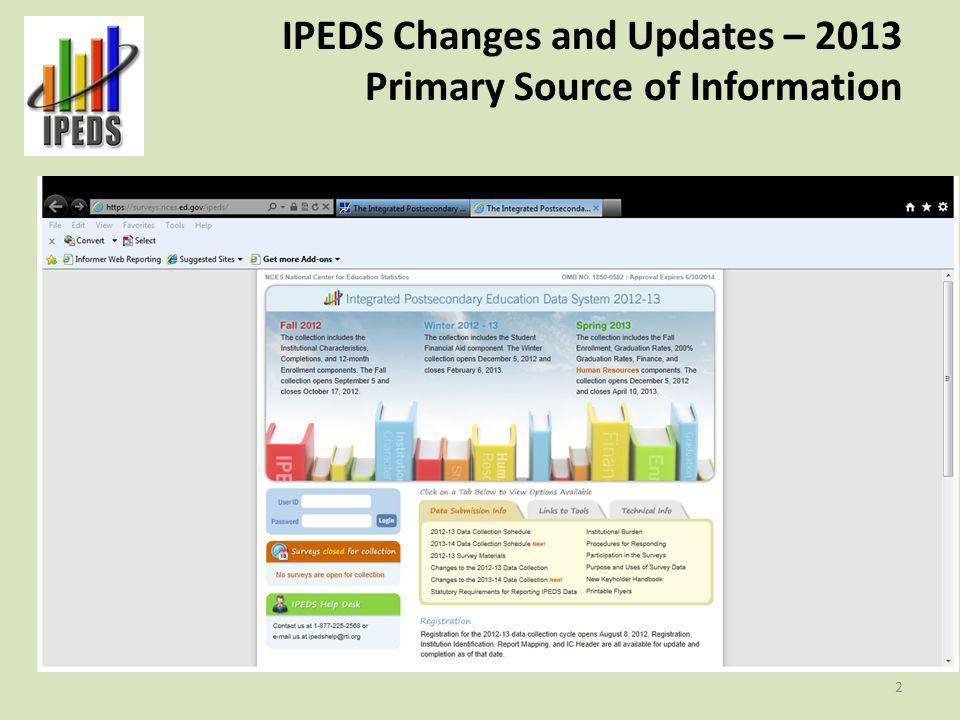 IPEDS Changes and Updates – 2013 Primary Source of Information 2