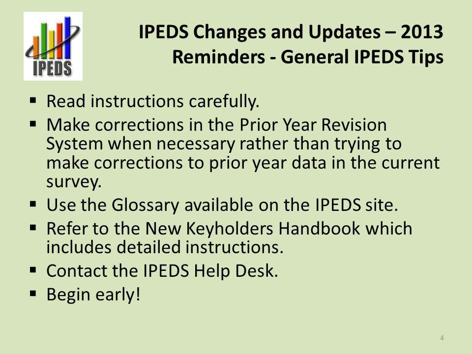 IPEDS Changes and Updates – 2013 Resources Access the IPEDS Help Desk IPEDS listserv Registered keyholders and other data providers can access the Message Center 5
