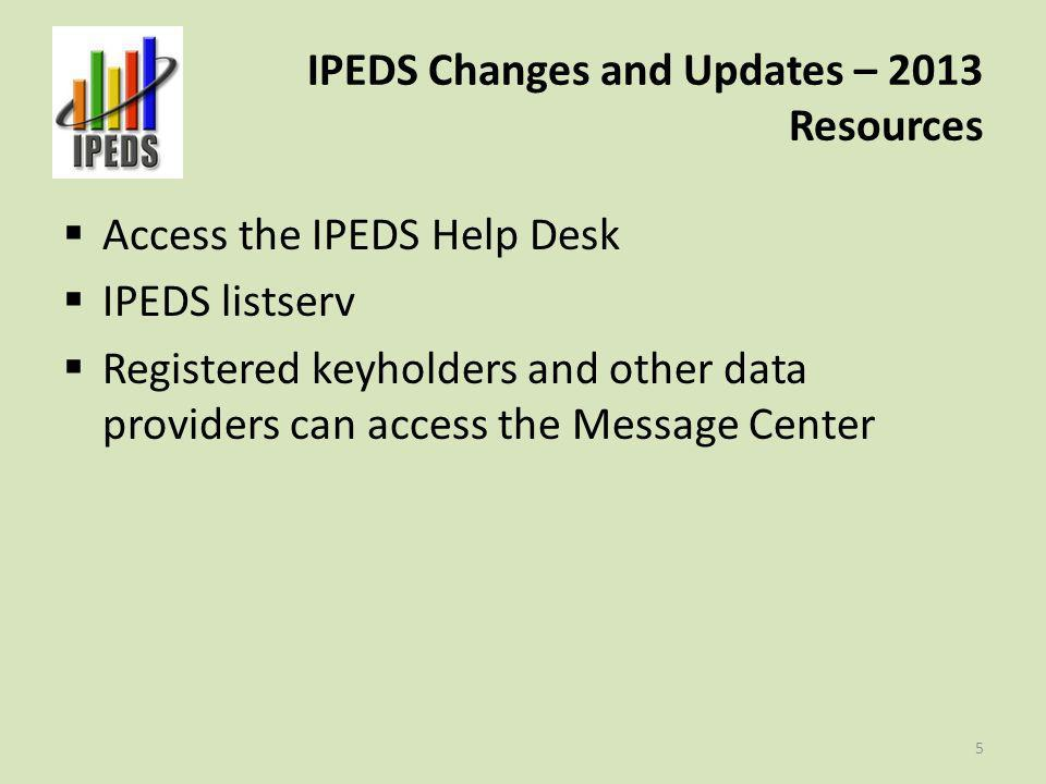 IPEDS Changes and Updates – 2013 Resources 6