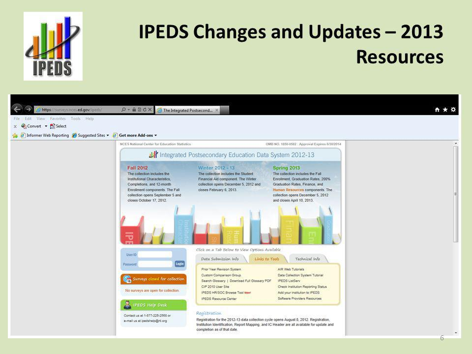 IPEDS Changes and Updates – 2013 Reminder About Context Boxes Differ from explanations in that they allow the institution to provide more information about the data reported.
