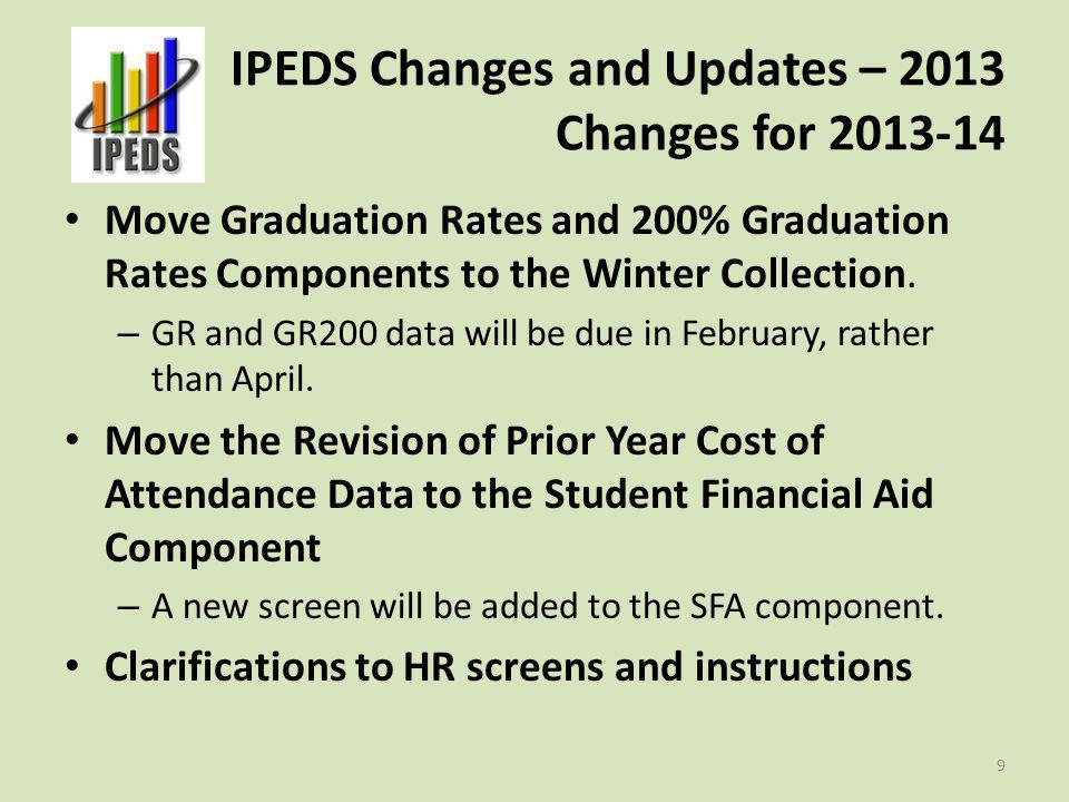 IPEDS Changes and Updates – 2013 Changes for 2013-14 Move Graduation Rates and 200% Graduation Rates Components to the Winter Collection. – GR and GR2
