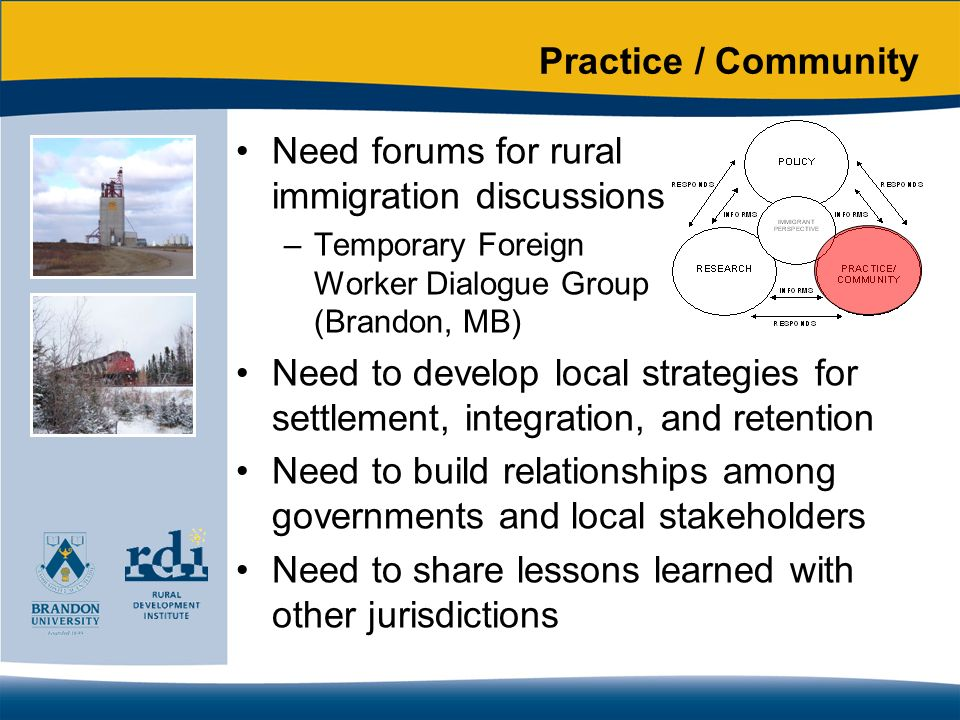 Practice / Community Need forums for rural immigration discussions –Temporary Foreign Worker Dialogue Group (Brandon, MB) Need to develop local strategies for settlement, integration, and retention Need to build relationships among governments and local stakeholders Need to share lessons learned with other jurisdictions