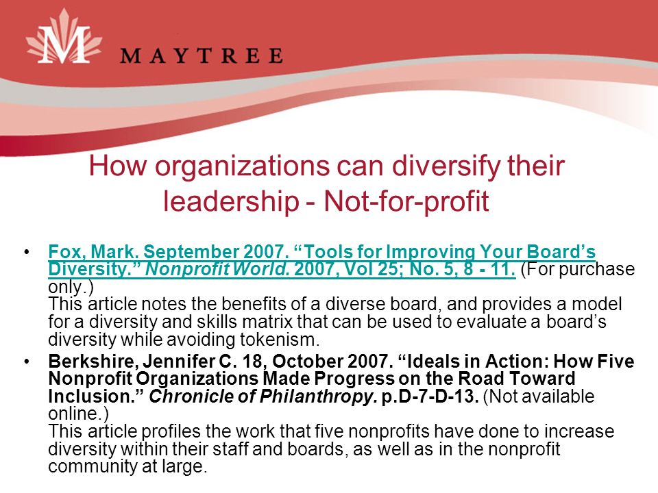 How organizations can diversify their leadership - Not-for-profit Fox, Mark.