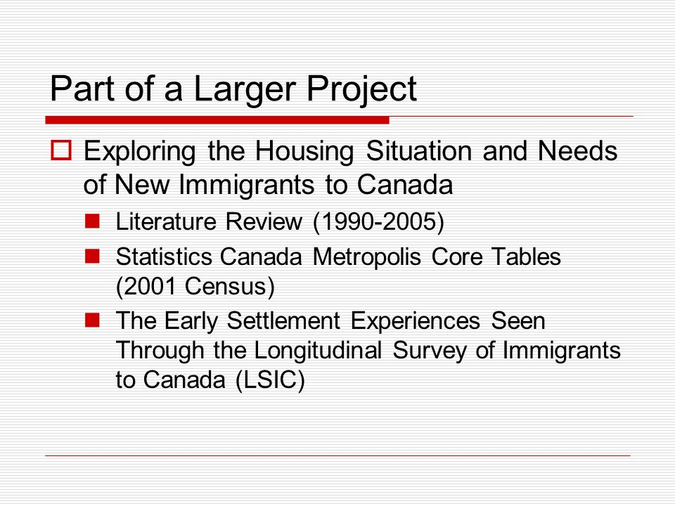 Need for a Literature Review Increased Interest Importance of Housing in the Immigrant Integration Process Access to adequate, suitable and affordable housing is an important first step Housing as an indicator of quality of life (health, social interaction, community participation, general well being) Few Bibliographies of the Canadian Literature in this Field Beavis (1995, out of print); Housing New Canadians Research Working Group (www.hnc.utoronto.ca)www.hnc.utoronto.ca