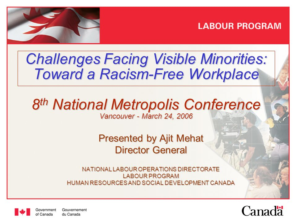 2 Outline Context Public policy framework for inclusion Employment Equity Act: 1986 - 2006 –Scope –Results Eliminating racism/racial discrimination in the workplace –Government wide Canadas Action Plan Against Racism –HRSDC-Labour Racism-Free Workplace Strategy Opportunities for further collaboration.