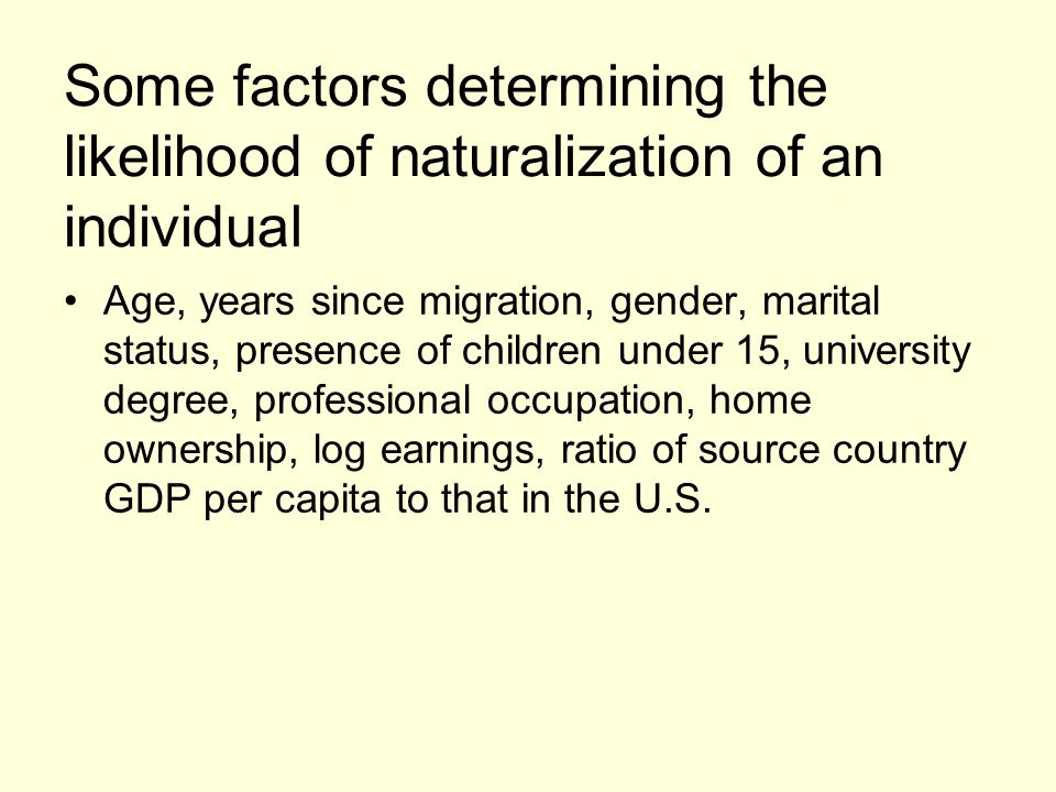 Some factors determining the likelihood of naturalization of an individual Age, years since migration, gender, marital status, presence of children un