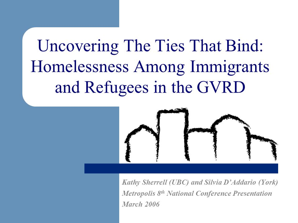 Uncovering The Ties That Bind: Homelessness Among Immigrants and Refugees in the GVRD Kathy Sherrell (UBC) and Silvia DAddario (York) Metropolis 8 th
