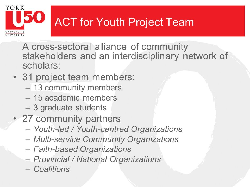ACT for Youth Project Team A cross-sectoral alliance of community stakeholders and an interdisciplinary network of scholars: 31 project team members: –13 community members –15 academic members –3 graduate students 27 community partners –Youth-led / Youth-centred Organizations –Multi-service Community Organizations –Faith-based Organizations –Provincial / National Organizations –Coalitions
