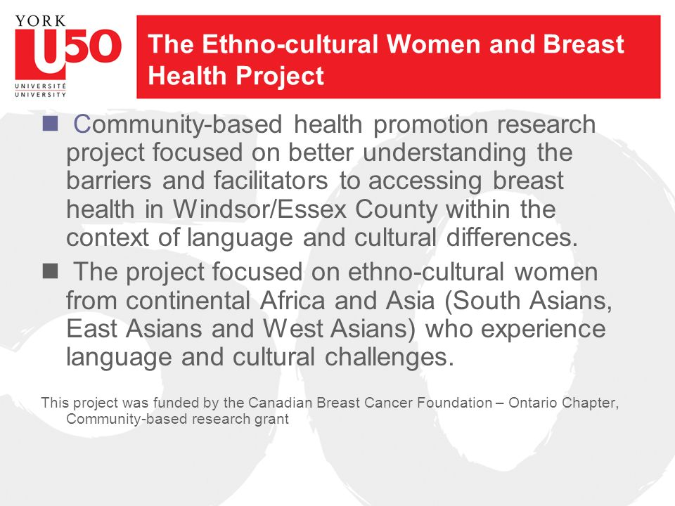 The Ethno-cultural Women and Breast Health Project Community-based health promotion research project focused on better understanding the barriers and facilitators to accessing breast health in Windsor/Essex County within the context of language and cultural differences.