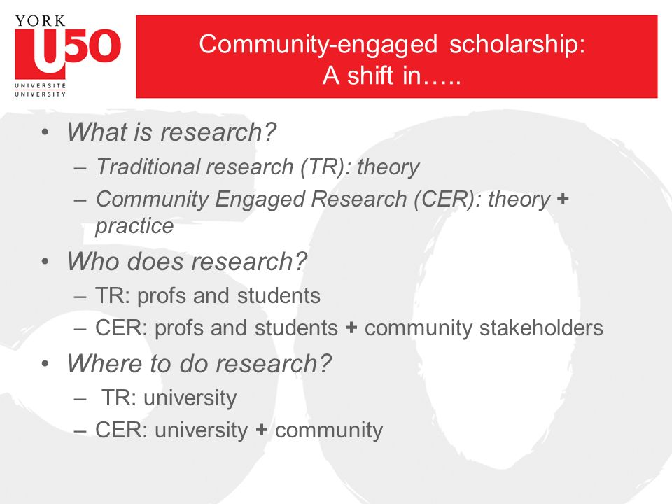 Community-engaged scholarship: A shift in….. What is research.