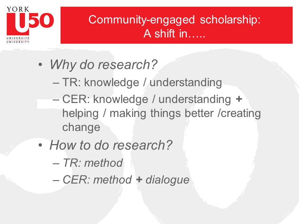 Community-engaged scholarship: A shift in….. Why do research.